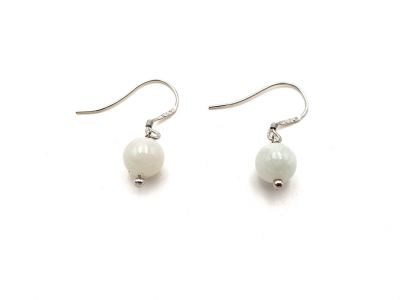 Jade Earrings - White Bead - 0.7 cm