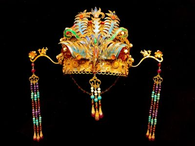 Ancient golden Chinese Theatre Hat - Emperor and Empress - The Multicolored Phoenix - Beads