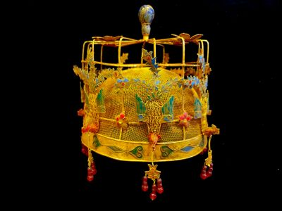 Ancient golden Chinese Theatre Hat - Emperor and Empress - Phoenix Crown - Emperor of China