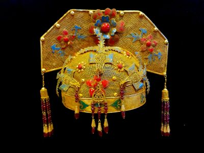 Ancient golden Chinese Theatre Hat - Emperor and Empress