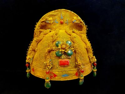 Ancient golden Chinese Theatre Hat - Emperor and Empress - Qing dynasty