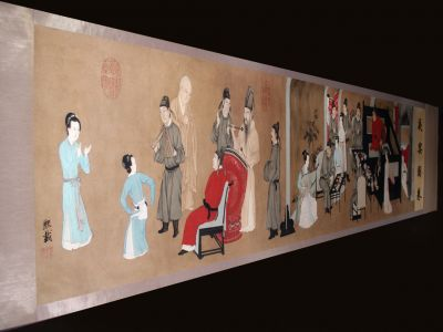 Very Large Chinese Kakemono Painting Night Revels of Han Xizai