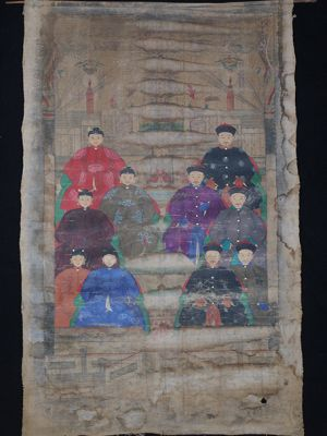 Old Chinese Chinese Ancestor Painting - Family of 10 chinese mandarins