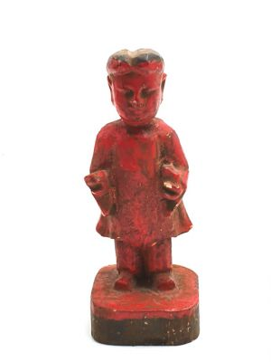 Old reproduction - Small Chinese votive statue - Red