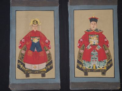 Small Ming Chinese ancestors couple Red