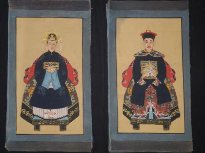 Small Chinese ancestors couple - Painting - Navy Blue / Black