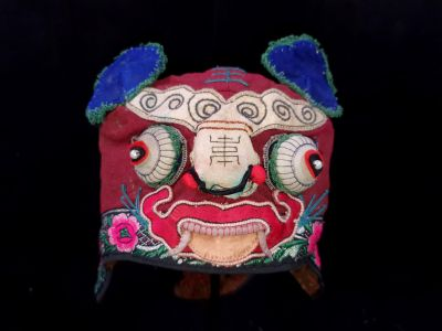 Old Chinese child headdress Red and blue dragon