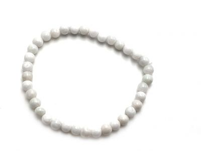 6mm Jade Beads Bracelet - White Jade
