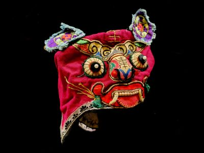 Old Chinese child headdress Funny Monster - Red