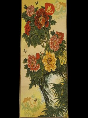 Chinese painting - Embroidery on silk - Landscape - Butterflies and flowers