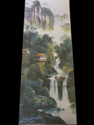 Chinese painting - Embroidery on silk - Landscape - The falls