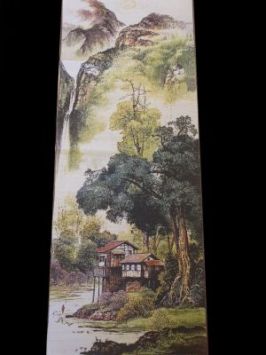 Chinese painting - Embroidery on silk - Landscape - The mountain with waterfalls