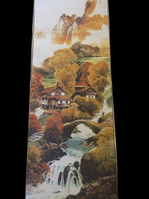 Chinese painting - Embroidery on silk - Landscape - The village on the water
