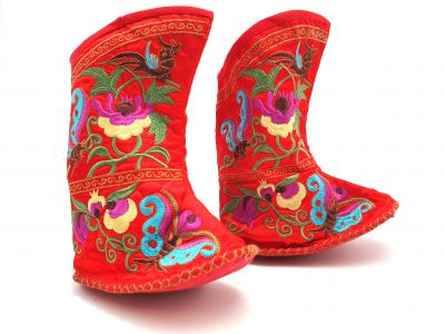 Chinese Embroidery - Miao Baby Slippers - Ankle boot - Red
