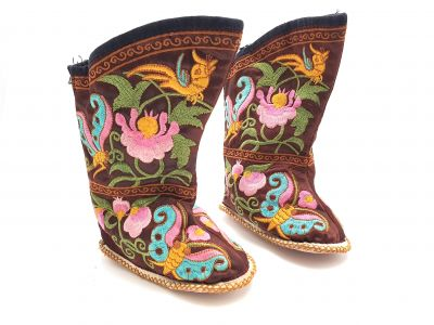 Chinese Embroidery - Miao Baby Slippers - Ankle boot - Brown, multicolored