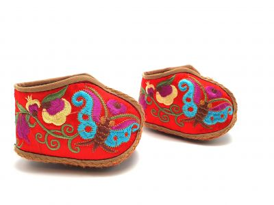 Chinese Embroidery - Miao Baby Slippers - Red