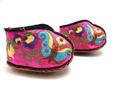 Chinese Embroidery - Miao Baby Slippers - Pink