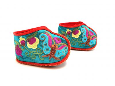 Chinese Embroidery - Miao Baby Slippers - Turquoise