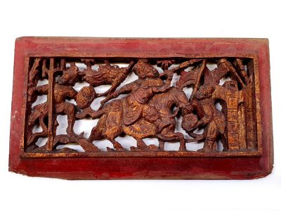 Old Wooden Panel Qing Dynasty Red and gold - Horseman