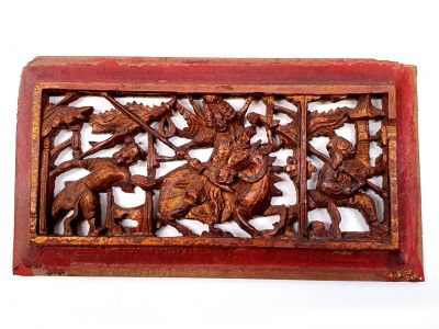 Old Wooden Panel Qing Dynasty Red and gold - Horseman 2