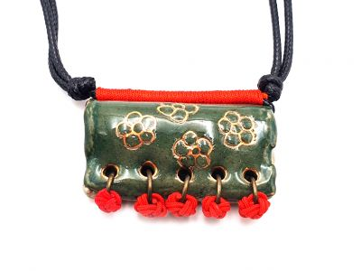 Ceramic jewelry Asian collection - Green with flowers