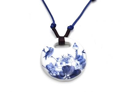 Ceramic jewelry White and Blue Collection - Necklace - China - Bird and Lotus