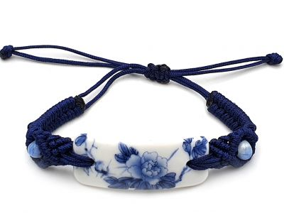 Ceramic jewelry White and Blue Collection - Bracelet - China - Flowers