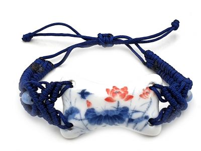 Ceramic jewelry White and Blue Collection - Bracelet - China - Red lotus flowers