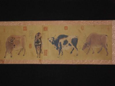 Chinese Painting Five Oxen Han Huang