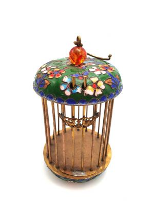Chinese cricket cage in Cloisonne green