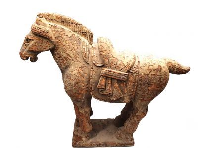 Old large Chinese horse Statue in Wood