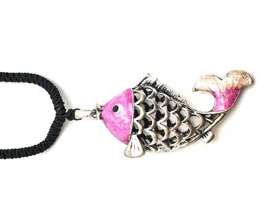 Collier chinois Poisson Rose