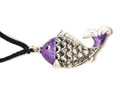 Collier chinois Poisson Violet