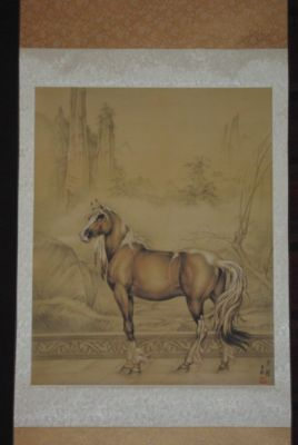 Chinese painting on silk scroll the Horse