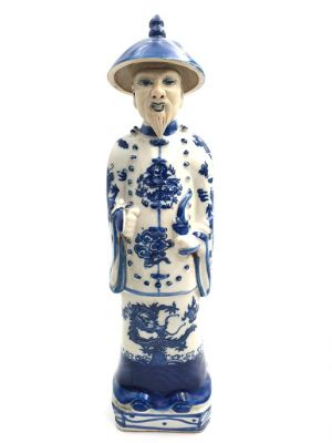 Old Chinese Mandarin in blue and white statue