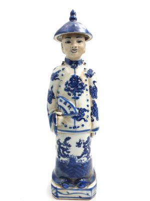 Chinese Young Mandarin Statue in Porcelain