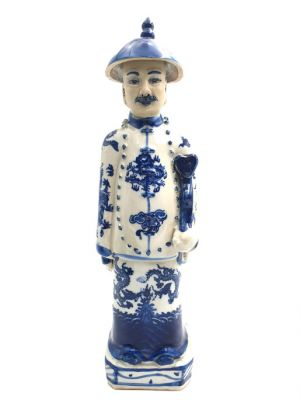 Chinese Adult Mandarin Statue in Porcelain