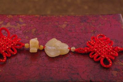 Feng Shui Red Jade Pendant Happy Buddha