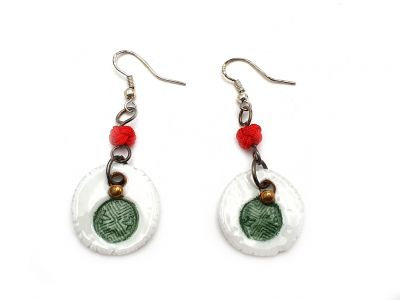 Road to India Ceramic Earrings Green