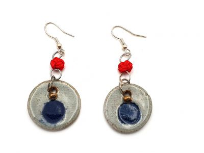 Road to India Ceramic Earrings Blue