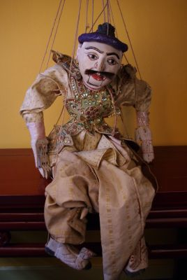 Old Burmese Puppet with Silk Clothing