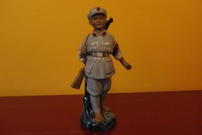 Chinese soldier bisque pottery statue