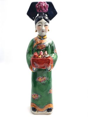 Standing Chinese Empress polychrome statue - Green - Fruit basket
