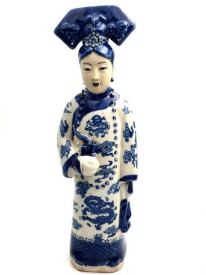 Chinese Blue White Empress Porcelain Statue - Opium pipe