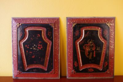 Old Red paire of Chinese wooden Panel