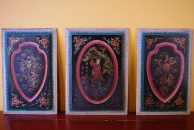 Old Chinese wooden triptych