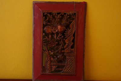 Chinese wood panel hand carved
