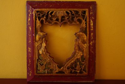 Chinese wood panel hand carved frame 6