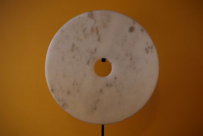 Large Chinese Bi Disk in White Jade from China