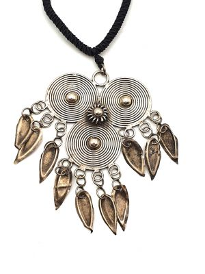Ethnic Necklace 3 Flat Spirals Pendant